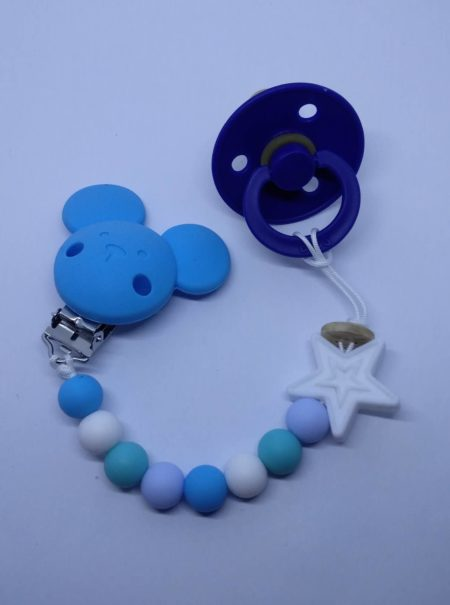silicone Soother Clips Blue